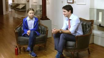 Die Klima-Aktivistin Greta Thunberg im Gespräch mit dem kanadischen Premierminister Justin Trudeau. (Archiv)