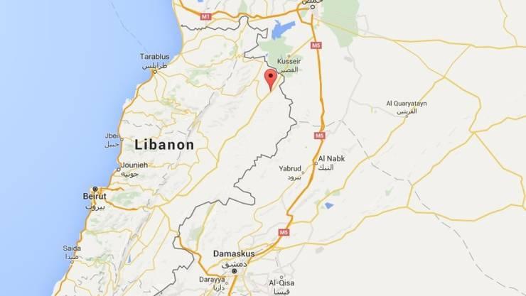 In der libanesischen Ortschaft Kaa unweit der syrischen Grenze sprengen sich mehrere Attentäter in die Luft. (Bild googlemaps)