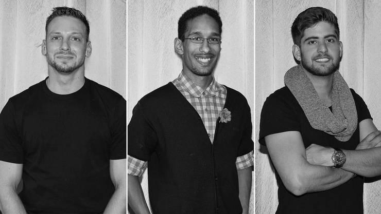 Die drei Aargauer Kandidaten (v.l.): Walter Conidi aus Seon, Mike Suleiman aus Frick und Diego Profeta aus Baden.