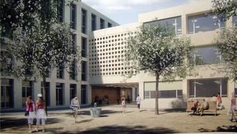 Visualisierung vom Pausenplatz auf das geplante Schulhaus. zvg
