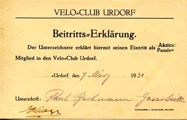 Eine Beitrittserklärung vom März 1931.