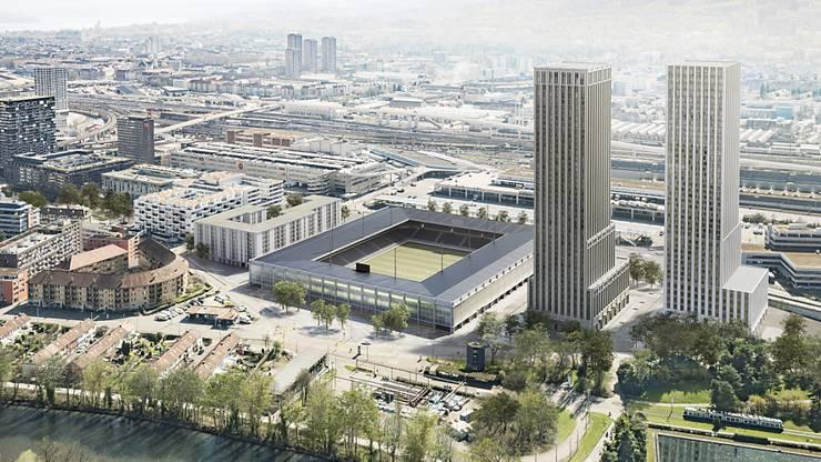 So könnte das zukünftige Fussballstadion auf dem Hardturm-Areal in Zürich aussehen.