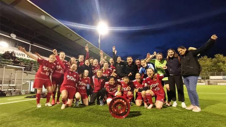 Die Frauen des FC Baden bezwangen im Mai den SV Sissach mit 4:0 und schafften damit den Aufstieg in die 1. Liga zvg