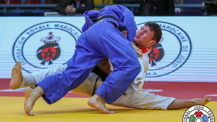Ein echter Coup gelang Ciril Grossklaus Grossklaus (blau) im Halbfinal, wo er in der Verlängerung (dem Goldenscore) den amtierenden Weltmeister -90 Kg, Nemanja Majdov, mit Höchstwertung bezwang.