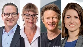 Vier der sieben neu Gewählten: Philippe Ramseier (FDP), Petra Kuster (SVP), Jonas Fricker (Grüne) und Manuela Ernst (GLP).