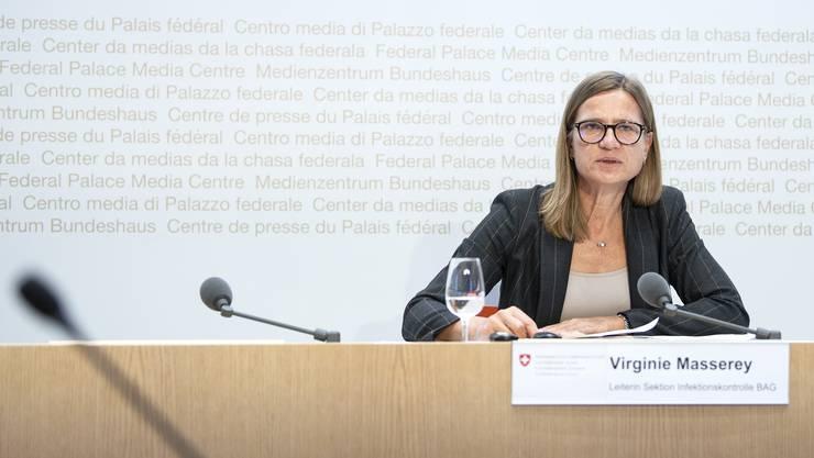 Virgine Masserey, Leiterin Sektion Infektionskontrolle vom BAG an einer Pressekonferenz in Bern.