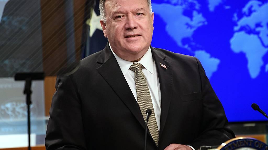 Mike Pompeo, Außenminister der USA spricht während einer Pressekonferenz im Außenministerium. Foto: Nicholas Kamm/Pool AFP/dpa