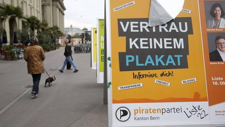 Grosszügige Wahlkampfspende: Plakat der Piratenpartei (Archivbild 2015).
