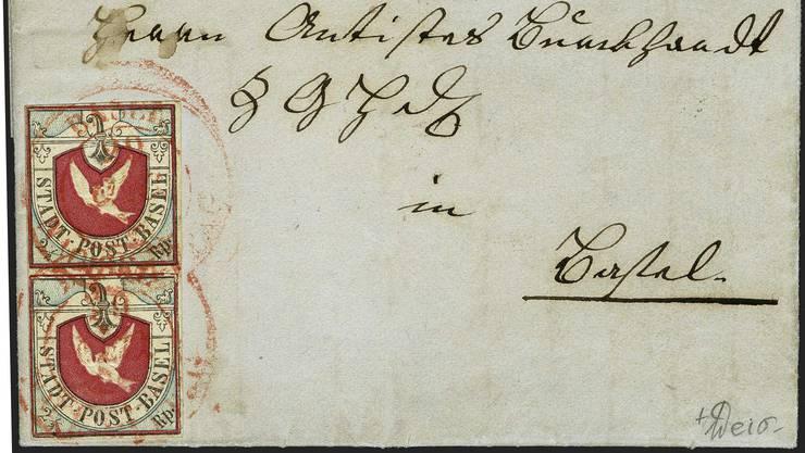 Dieser Briefumschlag mit zwei «Basler Dybli» von 1848 wurde Anfang Dezember für über 200'000 Franken ersteigert.