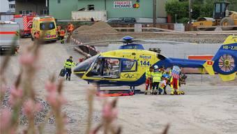 Der AAA-Heli bei einem Rettungseinsatz in Gretzenbach.