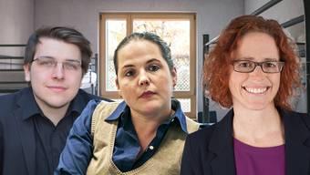 Sie kritisieren Fabienne Notter (r.), Geschäftsleiterin Caritas Aargau: Samuel Hasler, SVP-Einwohnerrat aus Buchs und SVP-Nationalrätin Martina Bircher.