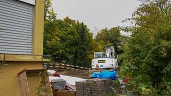 Die Höhere Fachschule Gesundheit- und Soziales (HFGS) in Aarau stellt in ihrem Garten einen Pavillon auf. Um dafür Platz zu schaffen, müssen zuerst ein paar Bäume gefällt werden. Toni Widmer
