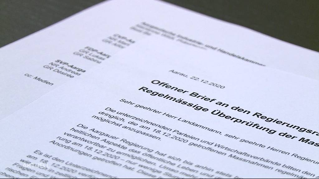Offener Brief von Aargauer Bürgerlichen: «Die Massnahmen gehen sowohl in sachlicher wie auch in zeitlicher Hinsicht zu weit»