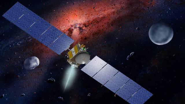 """Computergrafik der Raumsonde """"Dawn"""" mit Vesta und Ceres (NASA/UCLA, William K. Hartmann)"""