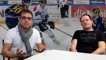 EHC-Olten-Berichterstatter Silvan Hartmann und Marcel Kuchta im Talk nach der ersten Playoff-Niederlage des EHC Olten der diesjährigen Saison.