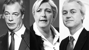 Speerspitze der Rechtsparteien: Nigel Farage (britische Unabhängigkeitspartei), Marine Le Pen (Front National), Geert Wilders (Partei für Freiheit).