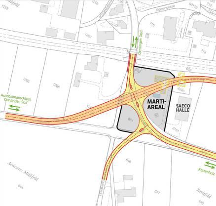 So stellt sich der Kanton die neue Umfahrungsstrasse (orange) vor.