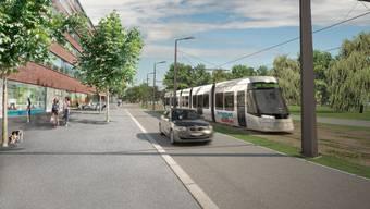 So soll die Limmattalbahn ab 2020 zwischen Killwangen-Spreitenbach und Zürich Altstetten verkehren (Vuiisualisierung)