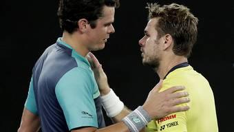 In Melbourne gewann Milos Raonic (li.) nach hartem Kampf gegen Stan Wawrinka. In Rotterdam kommts nun zur Revanche