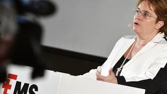 Die Ems-Chemie hat 2018 kräftig Gas gegeben. Der Spezialchemiekonzern steigerte Umsatz und Gewinn deutlich. Allerdings bremst die Verlangsamung beim Wirtschaftswachstum auch das von SVP-Nationalrätin Magdalena Martullo-Blocher geführte Unternehmen etwas aus. (Archivbild.)