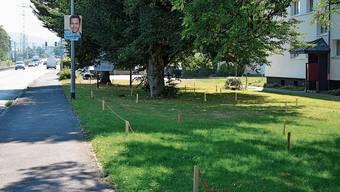 Entlang der Markierungen soll ein kleiner Pumptrack gebaut werden – gleich neben der Hauptstrasse.