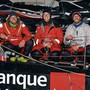 Strahlende Gesichter nach der Ankunft (von links): Valentin Gautier, Justine Mettraux und Simon Koster.