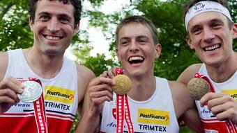 Die Medaillenjagd ist wieder eröffnet: Matthias Merz (l.), Matthias Kyburz (m.) und Matthias Müller. Keystone