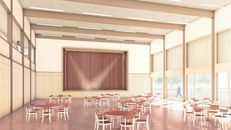 Blick in den Saal der Mehrzweckhalle, hinten in der Mitte die Bühne.