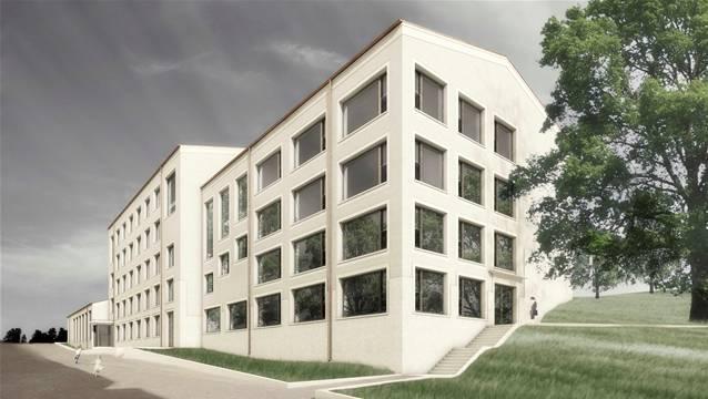 Visualisierung des neuen Oberstufenzentrums Rohrdorferberg.