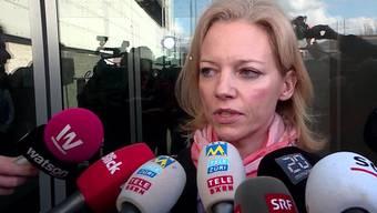 Am Mittag des zweiten Prozesstages im Vierfachmord von Rupperswil trat Staatsanwältin Barbara Loppacher vor die Medien.