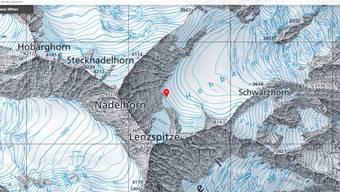 Der Alpinist ist am Sonntagnachmittag beim Aufstieg zum Nadelhorn tödlich verunfallt.