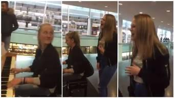 Chris Erismann und Nina Rufer performen am Bahnhof Aarau «Rolling in the Deep» von Adele. Da bleibt auch manch ein eiliger Pendler gerne stehen.