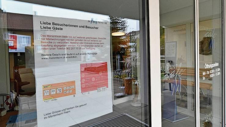 Türen bleiben bis auf weiteres geschlossen: der Eingangsbereich des Marienheims in Wangen bei Olten.