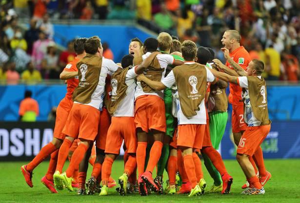 Holland jubelt nach dem Penaltysieg über Costa Rica