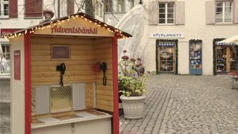 Das Adventsbänkli am Andreasplatz.