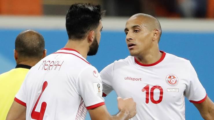 Torjubel bei den Tunesiern: Wahbi Khazri (rechts) und Yassine Meriah.