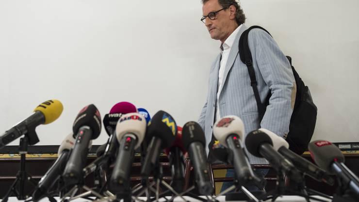 Geri Müller an der Pressekonferenz in Zürich zum «Gerigate».