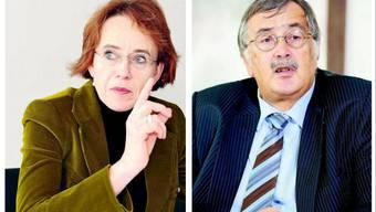 Die Basler Finanzdirektorin Eva Herzog und ihr Baselbieter Amtskollege Adrian Ballmer kritisieren sich gegenseitig.