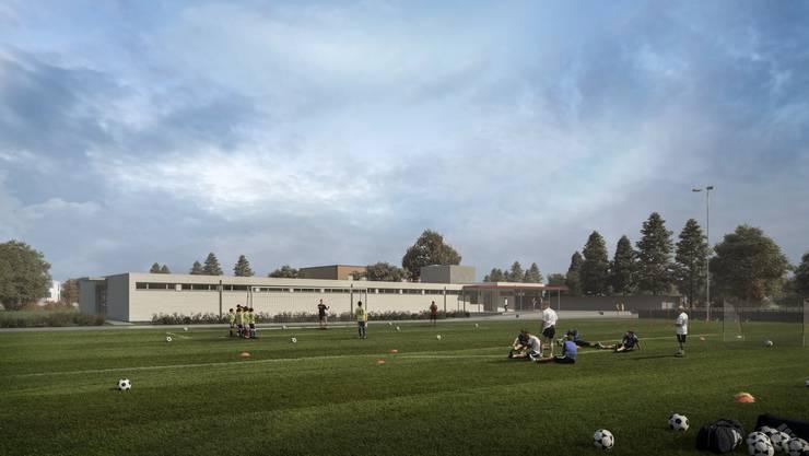 So wird das neue Garderobengebäude aussehen, das der FC Schlieren nächstes Jahr beziehen kann.
