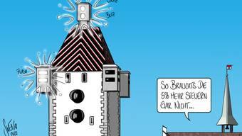 Der Badener Stadtrat hofft 2019 auf mehr Einnahmen: Dank einer Steuererhöhung – und weiteren Massnahmen, wie dem Blitzkasten beim Stadtturm.