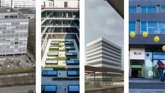 v.l.n.r. die Neubauten der FHNW: Campus Muttenz, Campus Brugg-Windisch, Visualisierung des sich im Bau befindenden Basler Dreispitz-Campus, Campus Olten