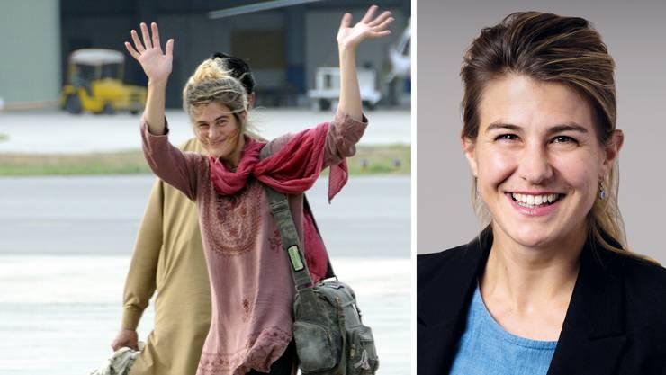 Daniela Widmer kurz nach ihrer Flucht am Flughafen Islamabad und heute, zwei Wochen nach ihrer Wahl an die Spitze der Gemeinde Bellikon.