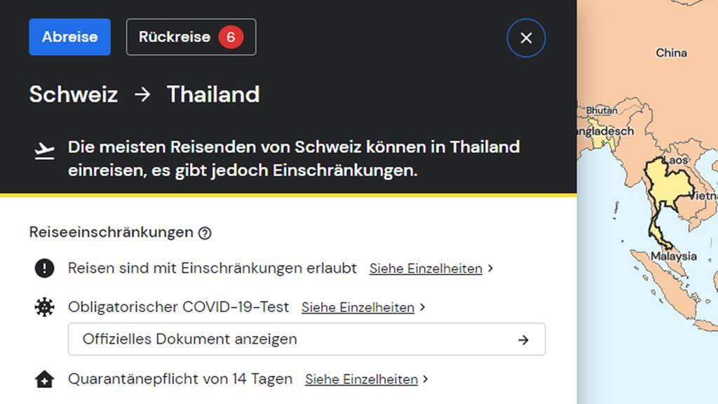 Für jedes Land gibt es aktuelle Reisebestimmungen