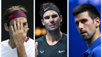 Roger Federer, Rafael Nadal und Novak Djokovic teilten die Grand-Slam-Titel in den letzten Jahrzehnten fast nur unter sich auf.