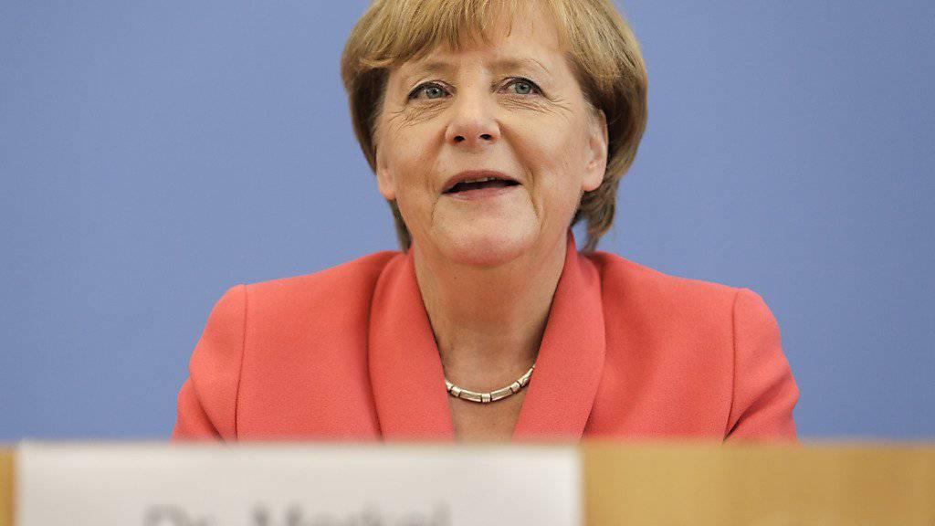 Die deutsche Kanzlerin Angela Merkel bei ihrer jährlichen Sommerpressekonferenz