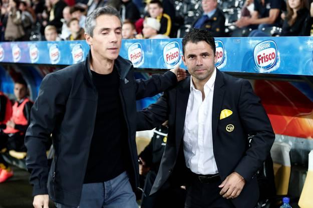 Basels Trainer Paulo Sousa und YB-Trainer Uli Forte vor dem Spiel