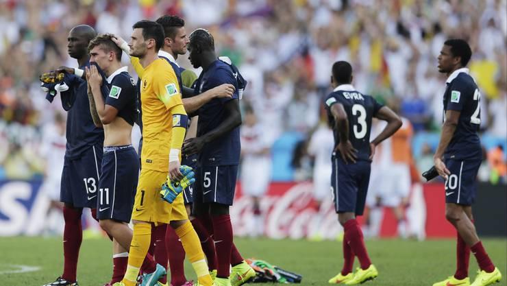 Die Franzosen ziehen nach dem WM-Aus gegen Deutschland enttäuscht von dannen.