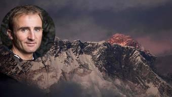 """Ueli Steck - wollte er das """"Hufeisen"""" riskieren? Hinter dem Nuptse erhebt sich der Everest."""