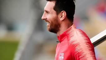 Nach der Verletzung im Hinspiel nun wieder gut gelaunt: Lionel Messi im Training am Montag