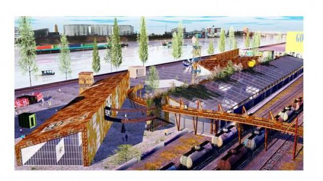 Überzeugendes, aber noch nicht finanziertes Modell für das Klybeck-Areal: Der Holzpark der Zwischennutzer vom Verein Shiftmode. Foto: ZVG/Atelier Schuwey